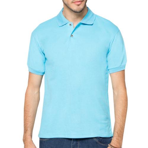 Baju Polo Lengan Gambar Polos Biru